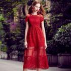 Mesh Trim Short Sleeve Crochet Evening Dress