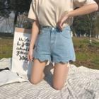 Scallop-trim Denim Shorts