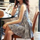 Sleeveless Cutout Printed Dress