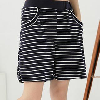 Elastic-waist Striped Cotton Shorts