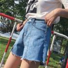 Slit Wide Leg Denim Shorts