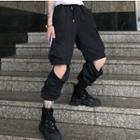 Cargo Pants With Detachable Hem Black - One Size