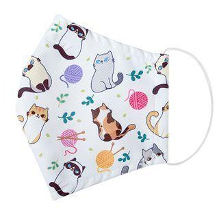 Handmade Water-repellent Fabric Mask Cover (cat Print)(adult) As Figure - One Size