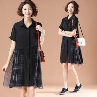 Plaid Mesh Panel Short-sleeve Midi Shirtdress