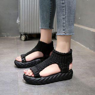 Platform Knit Panel Sandals