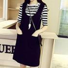 Set: Stripe Short-sleeve T-shirt + Sleeveless Dress