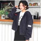Letter Buttoned Hooded Jacket Blue - One Size