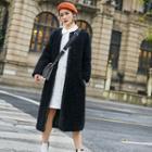 Buttoned Furry Long Coat