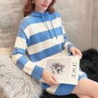Stripe Knit Hoodie Dress