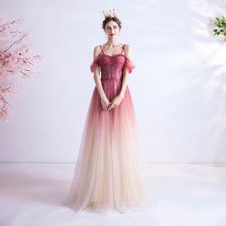 Cold Shoulder Gradient A-line Evening Dress