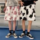 Cow Print Cargo Pocket Wide-leg Shorts