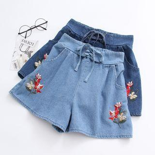 Lace-up Embroidered Shorts
