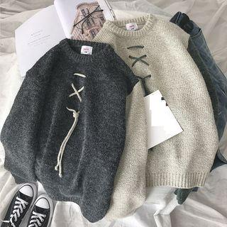 Lace-up Two-tone Sweater