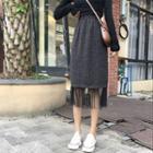 Mesh Panel Knit Skirt