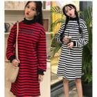 Striped Mock-neck Pullover Dress