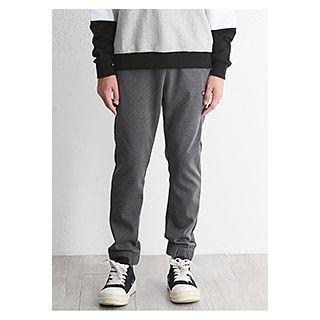 Zip-pocket Appliqu  Tapered Sweatpants