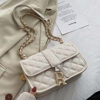 Quilted Lettering Flap Crossbody Bag