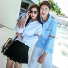Couple Matching Contrast Trim Shirt