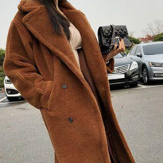 Double-breasted Fuax-fur Coat
