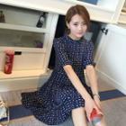 Short-sleeve Patterned Chiffon Dress