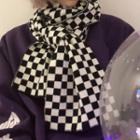 Checkboard Knit Scarf As Shown In Figure - One Size