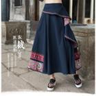 Ruffled A-line Maxi Skirt