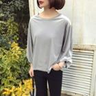 Tabbed-sleeve Velvet Top