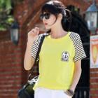 Applique Striped Short-sleeve T-shirt