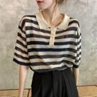 Striped Collared Short-sleeve Knit Top / Wide-leg Shorts