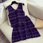 Set: Sleeveless Knit Top + A-line Skirt