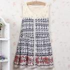 Sleeveless Lace-panel Patterned Dress
