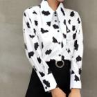 Long-sleeve Milk Cow Print Blouse White & Black - One Size