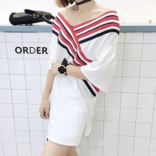 Elbow-sleeve V-neck T-shirt Dress