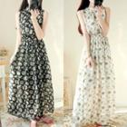 Flower Print Sleeveless Maxi Chiffon Dress