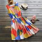 Sleeveless Patterned Drawstring Dress