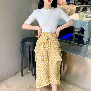 Mock Two-piece Short-sleeve Plaid Panel Midi A-line Dress Plaid - Yellow - One Size