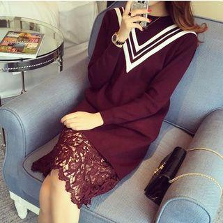 Lace Hem Long-sleeve Knitted Dress