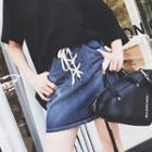 Lace-up Washed Denim Skirt