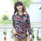 Lace-collar Floral Blouse