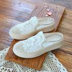Floral Embroidered Panel Platform Mules