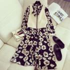 Set: Floral Long-sleeve Midi A-line Dress + Knit Vest