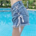 Lace-up Frayed Denim Shorts