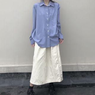 Long-sleeve Plain Oversize Shirt / High-waist Plain A-line Skirt