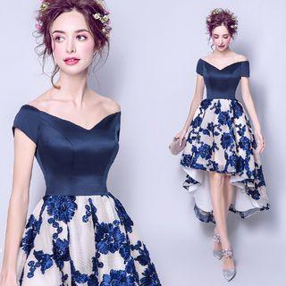 Off-shoulder High Low Prom Dress
