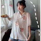 Embroidered Pig Short-sleeve Polo Shirt