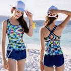 Set: Printed Sleeveless Swim Top + Swim Shorts
