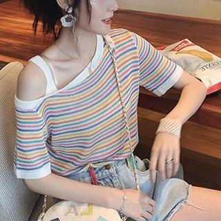 Cold-shoulder Short-sleeve Striped Knit Top