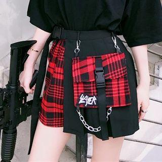 Set: Pleated Skirt + Plaid Shorts + Belt Bag