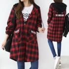 Hooded Longline Plaid Shirt