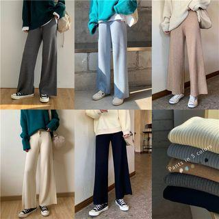 Multi-color Ribbed Wide-leg Pants